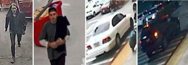 Police are searching for this woman and man suspected in thefts from a Target store in La Verne along with the cars they used. (Courtesy)