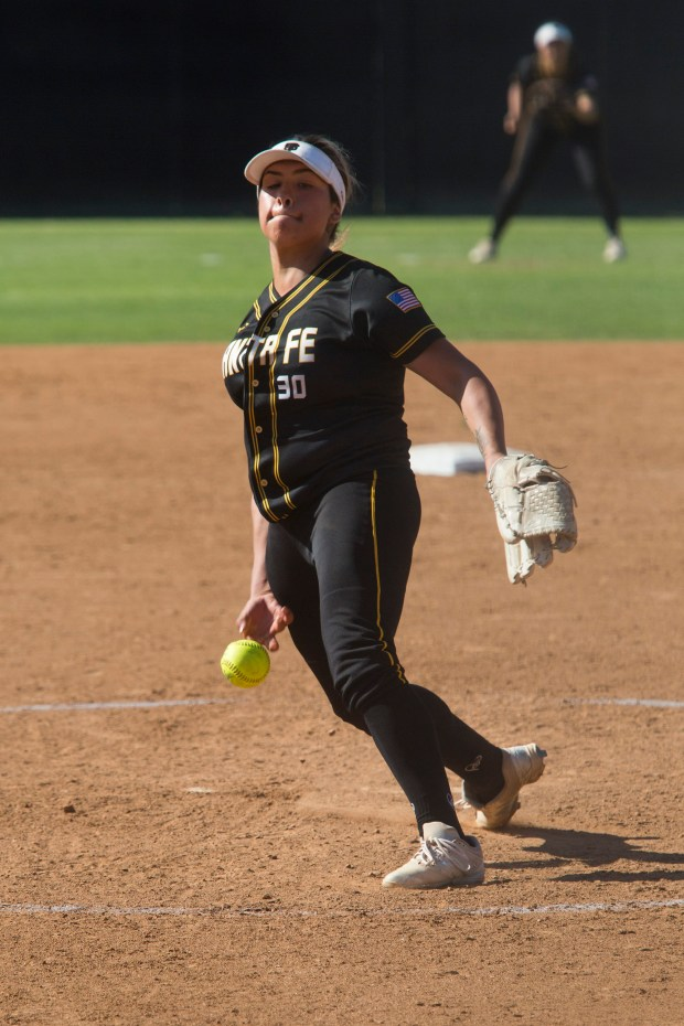 Santa Fe's Jessica Lopez throws a strike against San Marcos during the CIF-SS Division 4 softball championships on Saturday, June 2, 2018. (Photo by Drew A. Kelley, Contributing Photographer)