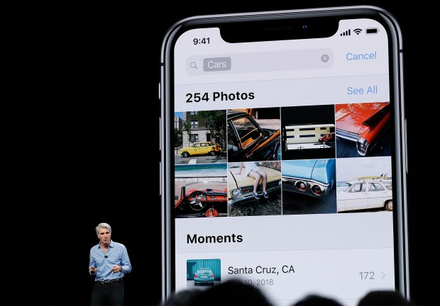 Craig Federighi, Apple's senior vice president of Software Engineering, speaks during an announcement of new products at the Apple Worldwide Developers Conference Monday, June 4, 2018, in San Jose, Calif. (AP Photo/Marcio Jose Sanchez)