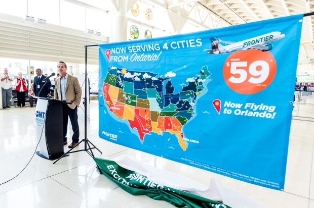 Josh Flyr, vice president of network planning and revenue for Frontier Airlines, announced new daily non-stop service from Ontario International Airport (ONT) to Orlando International Airport (MCO) this summer during a press conference at Ontario International Airport in Ontario, CA on Tuesday, June 5, 2018. (Photo by Watchara Phomicinda, The Press-Enterprise/SCNG)