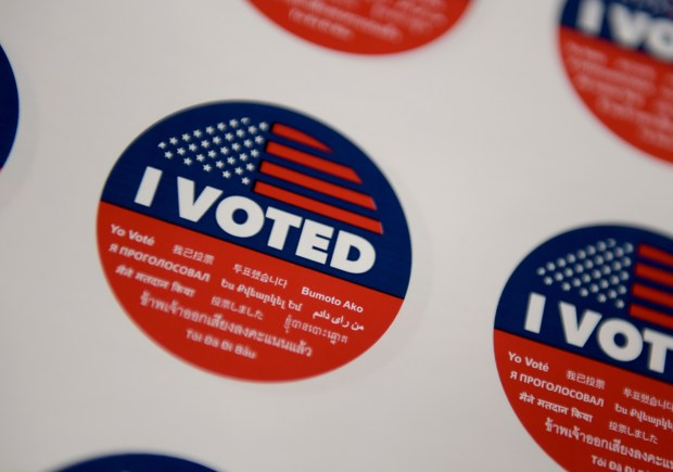 """I Voted"" stickers were given to voters who showed up at polling places Tuesday in Los Angeles County. (Photo by Dean Musgrove, Los Angeles Daily News/SCNG)"