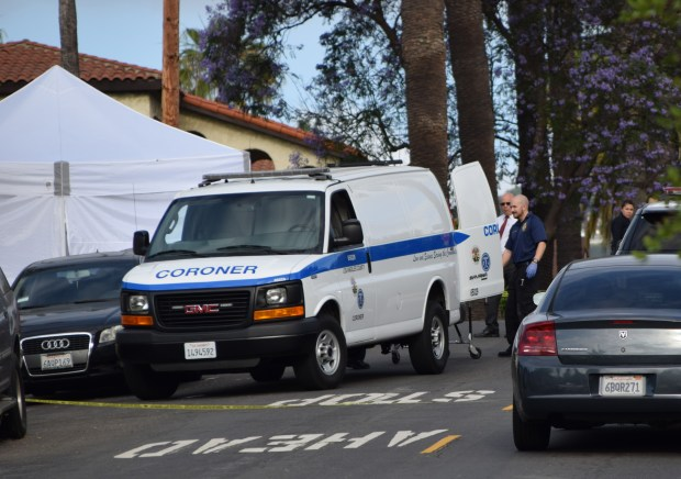 Police and firefighters responding to a call of a vehicle crashing into a home Monday morning in San Pedro found a woman who had been shot to death inside the vehicle at 783 W. Sepulveda St. on June 18, 2018. (Photo by Chris Vilanueva)
