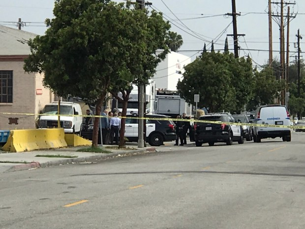 Long Beach police investigate the scene of a fatal shooting on the corner of Daisy Avenue and 17th Street Tuesday, June 19. (Nathaniel Percy, Staff)