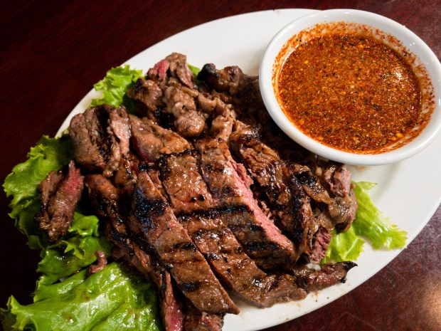 Thai-style barbecue beef, aka Crying Tiger, served with chili-lime dipping sauce at Thai Nakorn in Garden Grove. (Photo by Brad A. Johnson, Orange County Register/SCNG)
