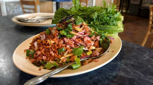 Nam and crispy rice salad at Thai and Laos Market in Anaheim. (Photo by Brad A. Johnson, Orange County Register/SCNG)