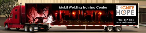 The next step in Reignite Hope's expansion program to help change lives will involve this prototype trailer with eight welding stations and a portable classroom. Photo: Deborah Paul