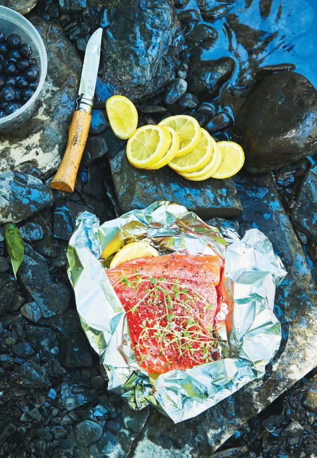 Foil Packet Salmon is topped with blueberry-honey concoction that is made in a lidded jar. (Photo by Christina Holmes)