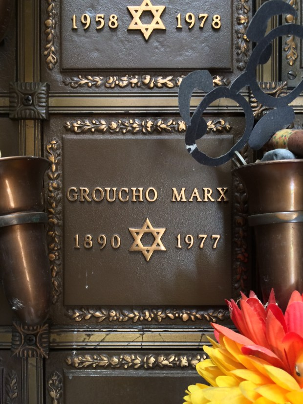 The crypt holding the ashes of comedian Groucho Marx is seen at Eden Memorial Park in Mission Hills. (2014 photo by Arthur Dark reproduced under the CC-by-SA 4.0 license)
