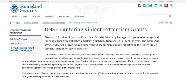 The web page for the Department of Homeland Security's Countering Violent Extremism Grants program still lists John Kelly -- now the White House chief of staff -- as the secretary of Homeland Security. The page at dhs.gov/cvegrants also lists Los Angeles as one of the top grant recipients. (Click for a larger image)