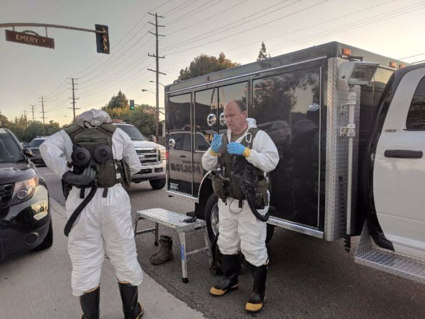 Members of the LA Sheriff's Department's Tactical HazMat Team are on scene Wednesday, June 27, 2018, to investigate a suspicious substance at the Norwood Library in El Monte. (Photo courtesy of the LA County Sheriff's Department)
