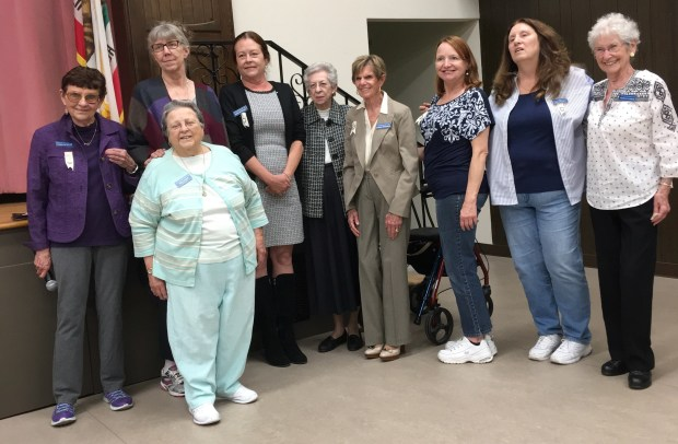 Officers of the Contemporary Club of Redlands include, from left,Carolyn Krupp,Jean Hyman (in front),Marry Burrows, Marie Reynolds,Maggie Holt-Smith,DonnaBrubaker,Cindi Hyman,Darlene Held andPriscilla Smega. Not pictured are Evey Dowell and Bernadette Baldwin. (Courtesy Photo)