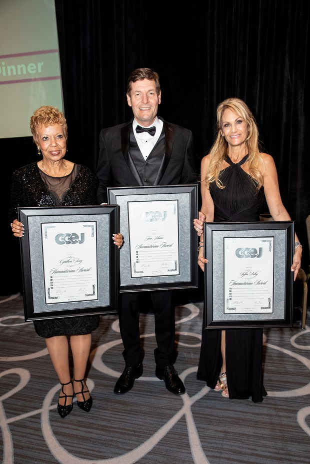 Recipients of California Conference for Equality and Justice 2018 Humanitarian Awards, from left, Cynthia Terry, Jim Zehmer and Sofia Riley