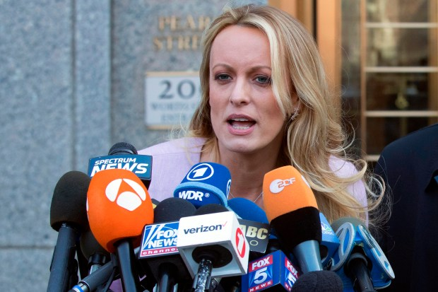 "Adult film actress Stormy Daniels said her ex-lawyer was a ""puppet"" for President Donald Trump and worked with the president's attorney to get her to appear on Fox News and falsely deny having sex with Trump. The allegations are made in a lawsuit filed June 6, 2018, in Los Angeles. (AP file photo/Mary Altaffer)"