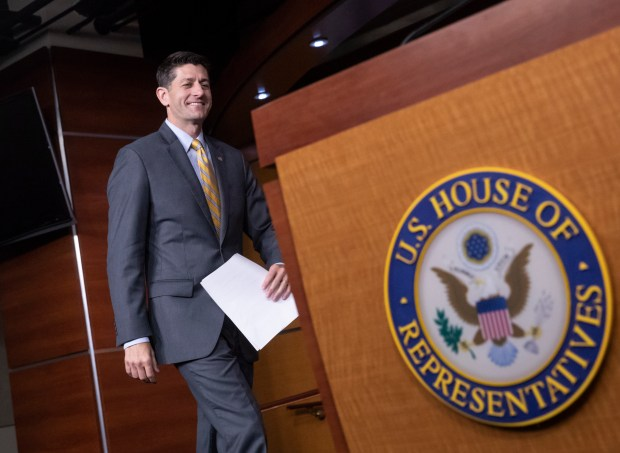 In this June 21, 2018, photo, Speaker of the House Paul Ryan, R-Wis., arrives for a news conference at the Capitol in Washington. House Republicans say they will make another run at immigration legislation in the coming week. (AP Photo/J. Scott Applewhite)