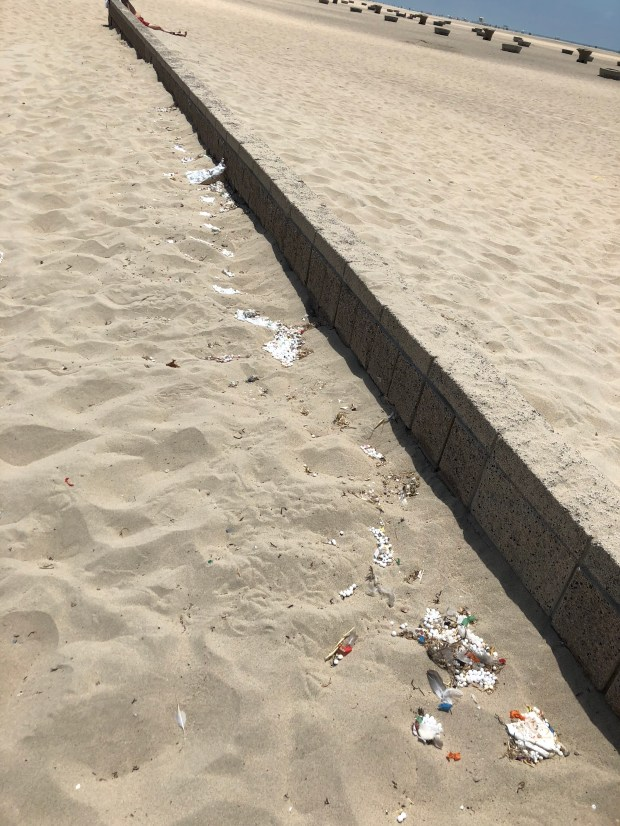 Tiny polystyrene foam pieces dot the sand in Huntington Beach. Photo courtesy of Kevin Dickinson