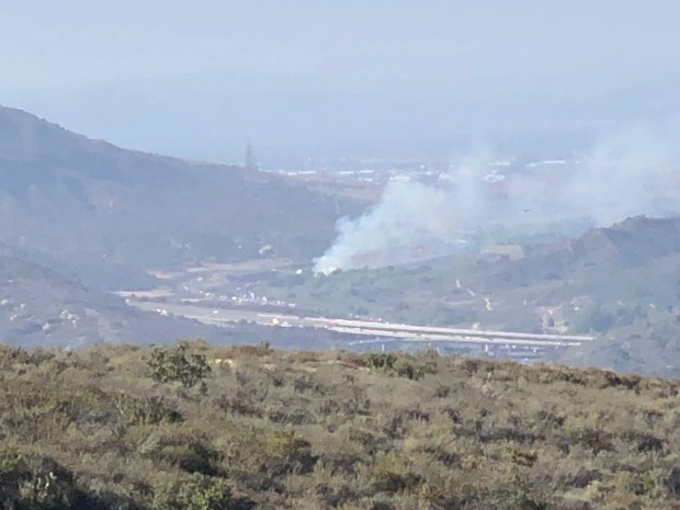 Samll brush fires break out along Laguna Canyon Road near Lake Forest Drive. (Photo courtesy of Jordan Villwock)