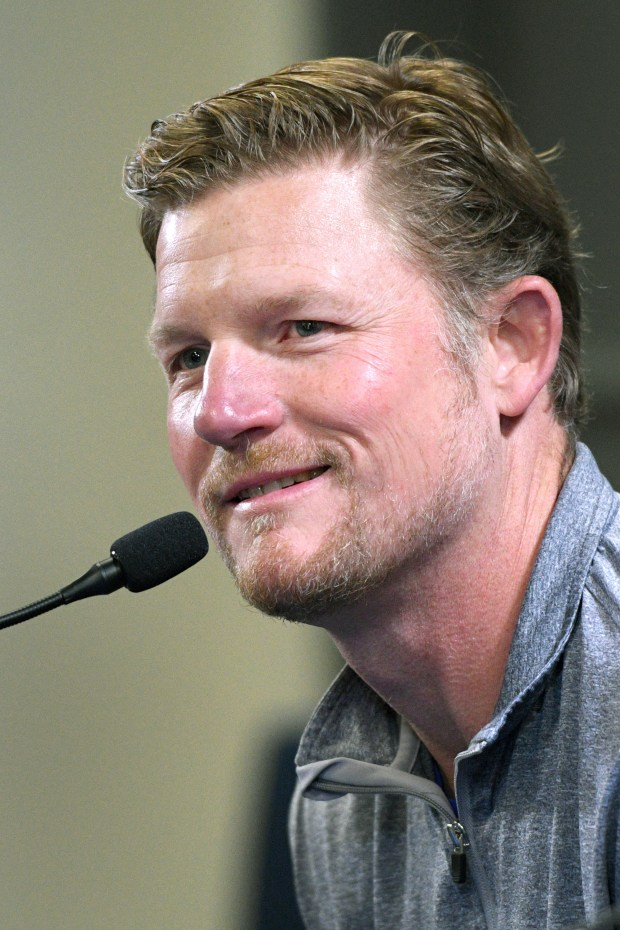 Rams general manager Les Snead speaks during a news conference to introduce Rams new wide receiver Brandin Cooks, Thursday, April 5, 2018, at the Rams training facility in Thousand Oaks. (Photo by Michael Owen Baker)