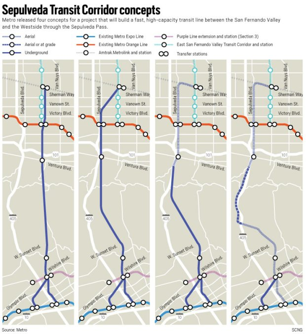 Las Angeles Underground Subway Map.Metro Rolls Out Its New Concepts For Sepulveda Transit Corridor