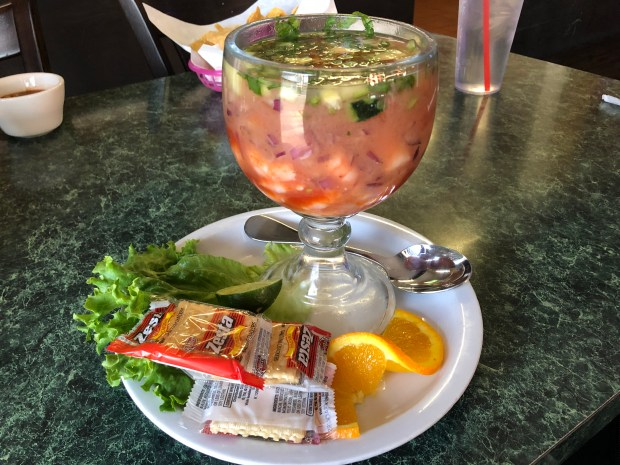 Shrimp cocktail at Mariscos Los Buchones in Long Beach (Photo by Merrill Shindler)