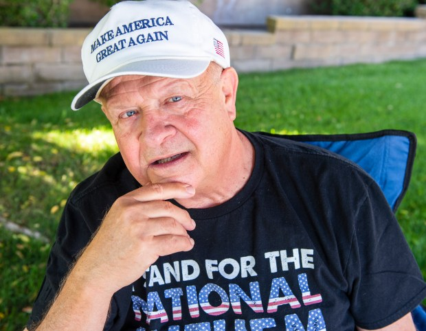 "Werner Raes, 66, a retired Anaheim police detective says he is part of the ""silent majority"" cheering on President Trump and thrilled to see the U.S. Supreme Court uphold the travel ban is shown at his home in Mission Viejo on Tuesday, June 26, 2018 (Photo by Leonard Ortiz, Orange County Register/SCNG)"