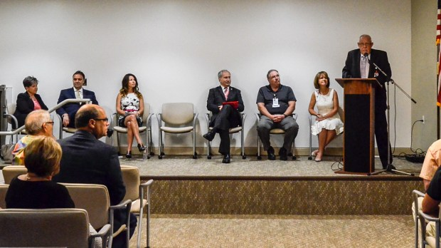 Dennis Frank, board chairman for Temecula Valley Hospital, was among the speakers at a recent open house. (Photo courtesy of Temecula Valley Hospital)