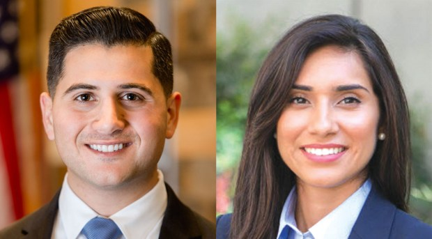 From left, Republican Assembly candidate Bill Essayli and Assemblywoman Sabrina Cervantes, D-Riverside (File photos).