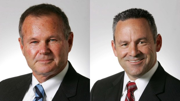 From left, Riverside County Sheriff Stan Sniff and Sheriff's Lt. Chad Bianco.