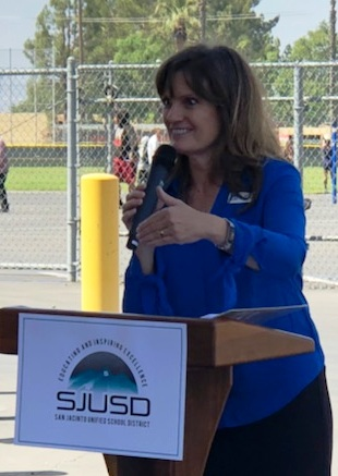 San Jacinto school board Trustee Debbi Rex speaks at a ceremonial groundbreaking for the Soboba Aquatics Center to be built at San Jacinto High. (Photo by Craig Shultz, staff)