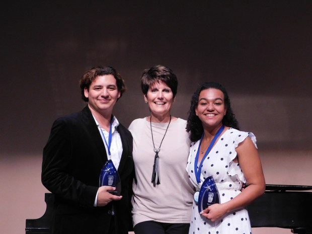 Marisa Moehno, a Murrieta Valley High student, right, and Garrett Hoy of Musical Theatre University, won Lucie Arnaz Awards for Outstanding Actor and Actress at the Lucie Arnaz Awards for High School Musical Theatre.(Courtesy photo)
