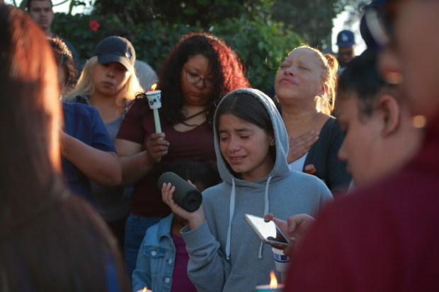 A vigil was held Monday for Kayla Huerta, who was found early Monday fatally shot in San Pedro.Photo by Raphael Richardson/Contributing photographer