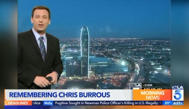 KTLA anchor Chris Burrous mourned on Saturday morning
