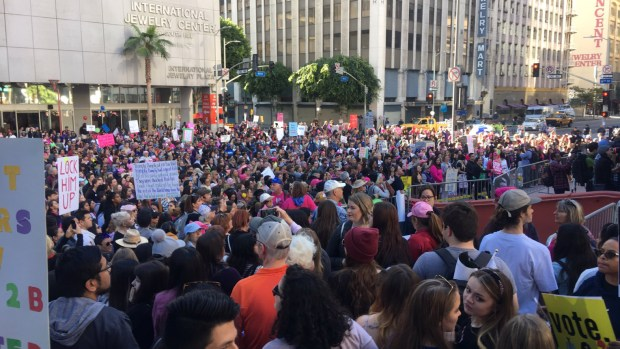 Thousands pack streets of downtown Los Angeles for third annual Women's March
