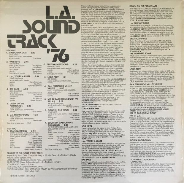 Here's a still-sealed vinyl LP from 1976 featuring local LA bands supporting public radio