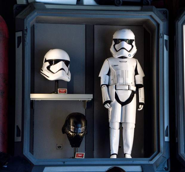 f603a6618e3 Kylo Ren's helmet sells for $750 and a stormtrooper helmet sells for $400  along with a children's stormtrooper costume at First Order Cargo at Star  Wars: ...