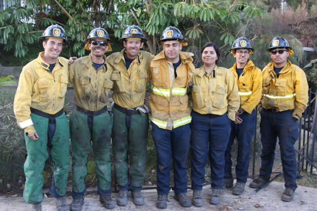 Some Getty fire crews rest after hard work Tuesday, stay vigilant