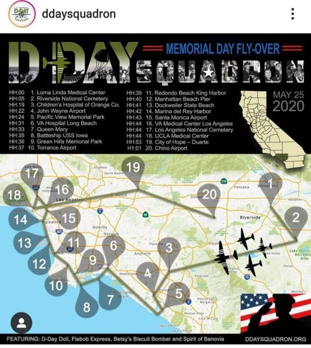 Map: Here's the flight path for 18-plane flyover on Memorial Day