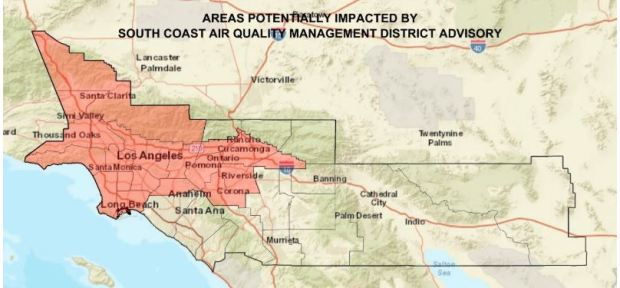Particle pollution from detonated fireworks affected a large area of Southern California on Sunday, July 5, 2020, the South Coast Air Quality Management District said. (Map courtesy of AQMD)