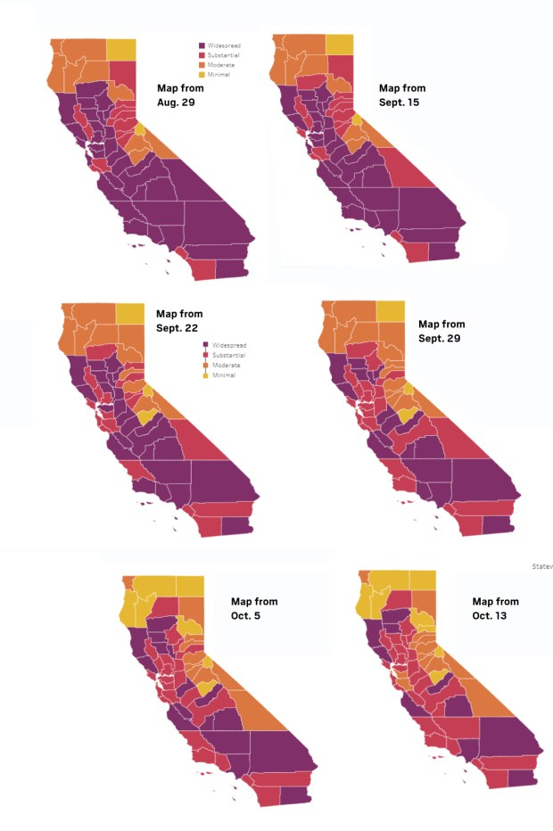 Coronavirus state tracker: Here are the tiers counties across California landed in on Oct. 13