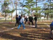 Students in the midst of a Turkey Bowl game