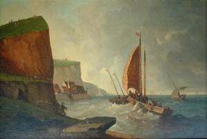 Artist: J Esteve Title: The Fishing Boats Size: 16in x 24in Framed: Yes