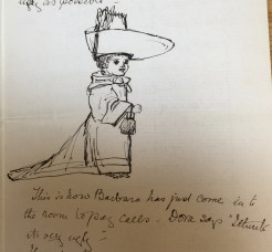 Sketch of Barbara dressed up to pay calls in a letter from Edith Mary (Dorrie) Collingwood, 20 July 1889.