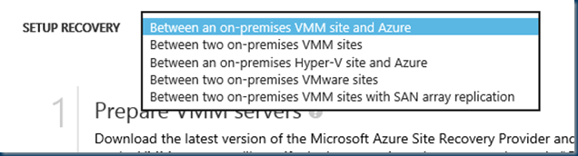 select Between an on-premises Hyper-V site and Azure