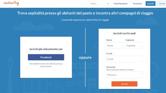 Interfaccia homepage iscrizione sito couchsurfing viaggiare local