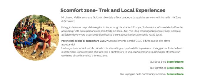 scomfort zone e mattia fiorentini contributors di GECO la fiera virtuale del turismo esperienziale e della mobilità sostenibile.