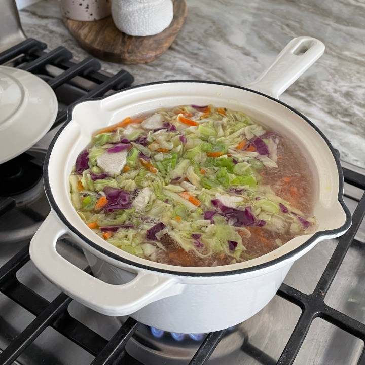 chicken stock for hot and sour soup with the shredded cabbage