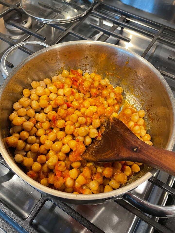 chickpeas stew in tomatoes and spices