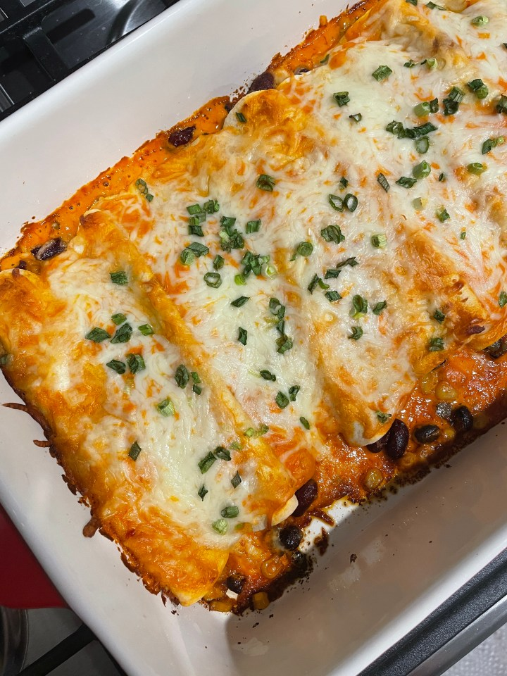 zesty veggie enchiladas bubbling hot out of the oven
