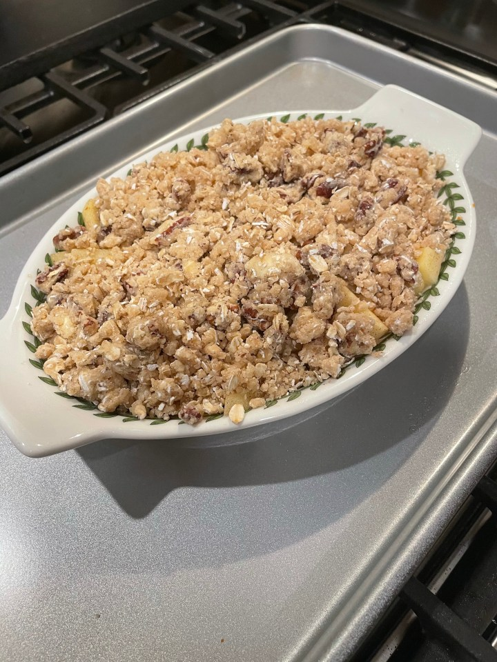 bake till the edges are bubbling and the apple crisp is golden brown
