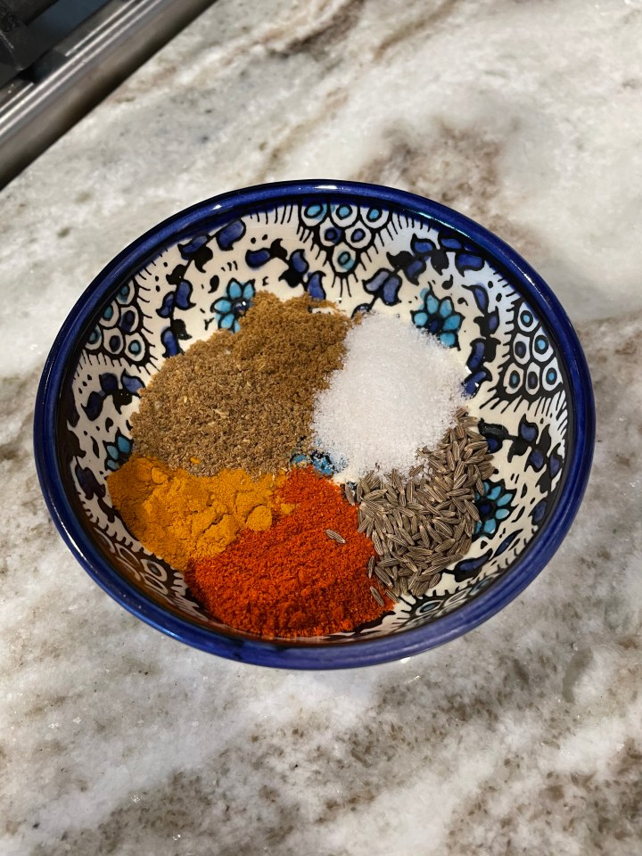 the earthy spices for chana masala