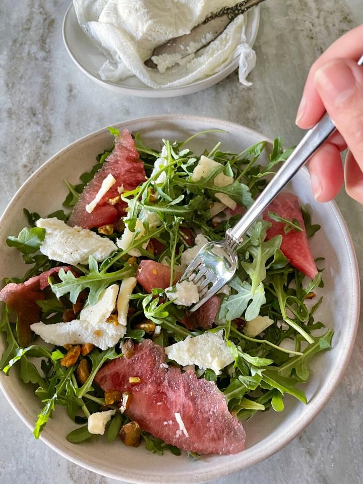arugula and watermelon salad with ricotta